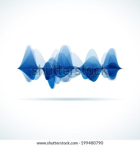 Vector audio & sound waves background - stock vector