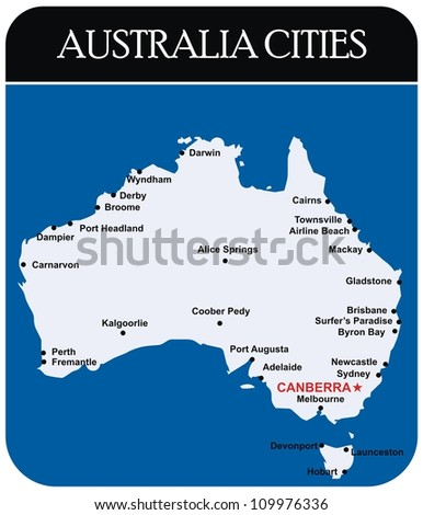 Vector Australia Cities Map Stock Vector Shutterstock - Australia cities map