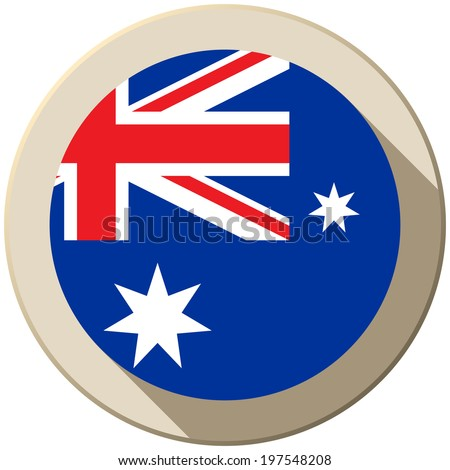 Vector - Australia Flag Button Icon Modern - stock vector