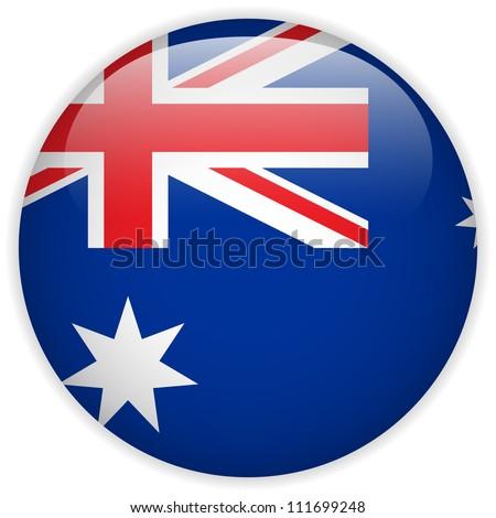 Vector - Australia Flag Glossy Button - stock vector