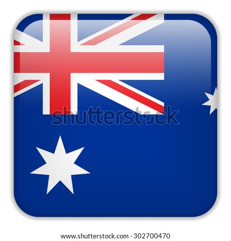 Vector - Australia Flag Smartphone Application Square Buttons - stock vector