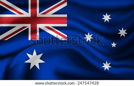 Vector Australia flag, three dimensional render, satin texture - stock vector