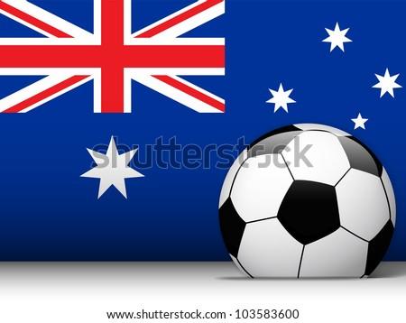 Vector - Australia Soccer Ball with Flag Background - stock vector
