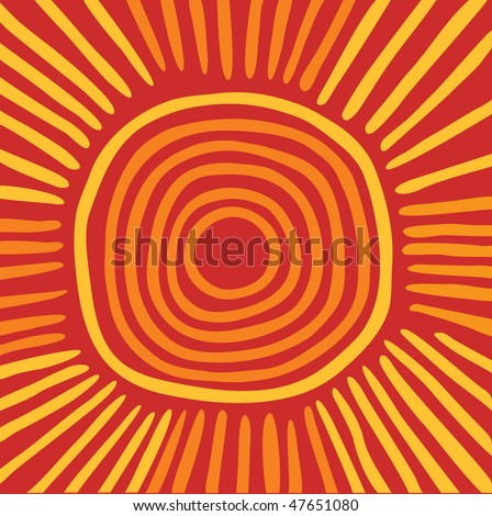 Vector Australian sun including ethnic motive with multicolored typical elements - stock vector