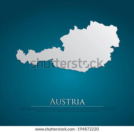 vector Austria Map card paper on blue background, high detailed - stock vector