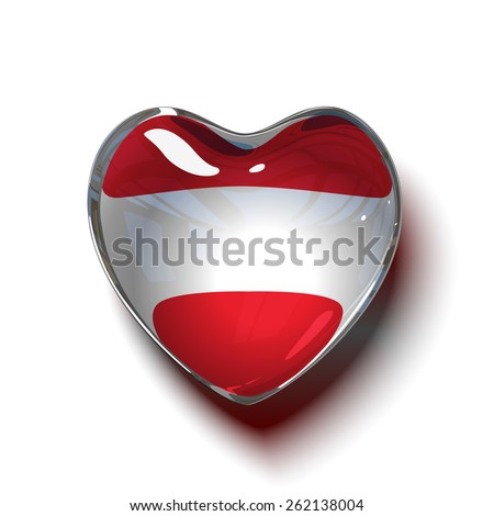 Vector. Austrian heart. Glass heart with flag of Austria inside. isolated on white background. - stock vector