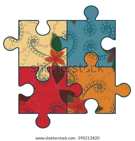 Vector autism puzzle symbol retro - stock vector