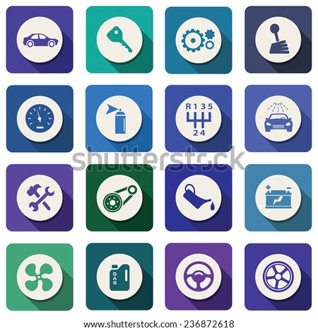 vector automotive and industrial flat icons - stock vector