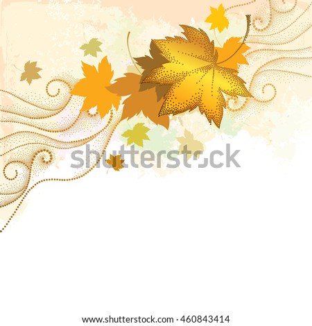 Vector autumn abstract background with dotted maple leaves and curls on the textured beige background. Autumn elements in dotwork style. Composition with falling maple leaves for September design.