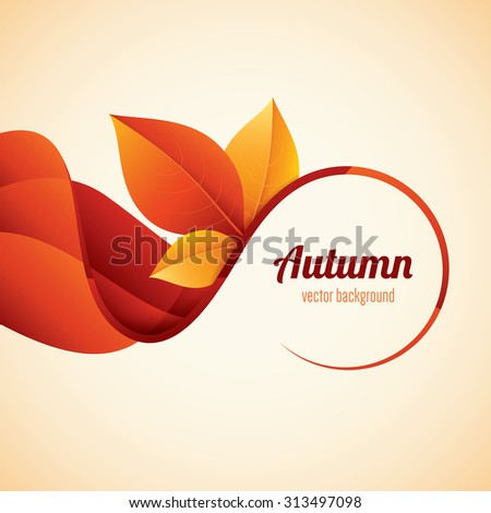 Vector autumn background. Modern orange leaves design. - stock vector