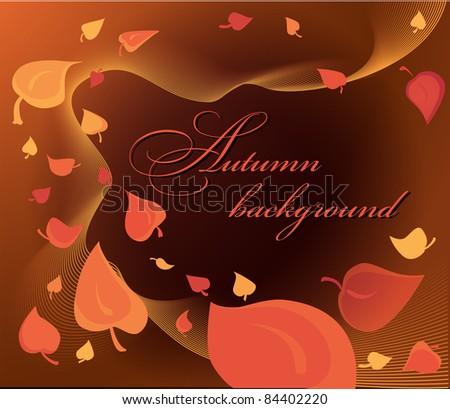 vector autumn background, orange,yellow leaf fall - stock vector