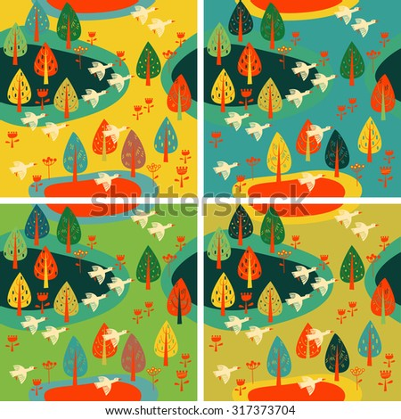 Vector autumn background with geese - stock vector