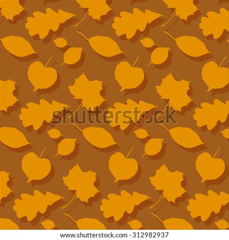 Vector autumn background with leaves. Shadow. Eps 10 vector file.