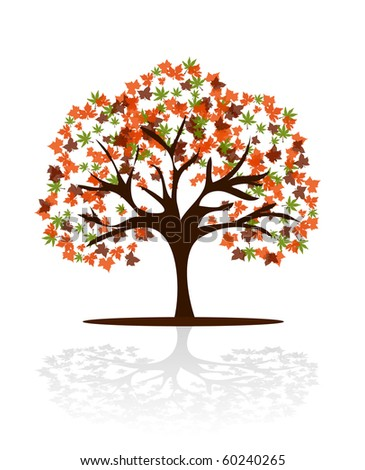 vector autumn background with tree.