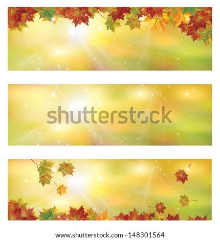 Vector autumn banners. - stock vector