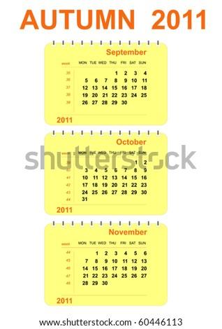 vector autumn calendar 2011 - stock vector