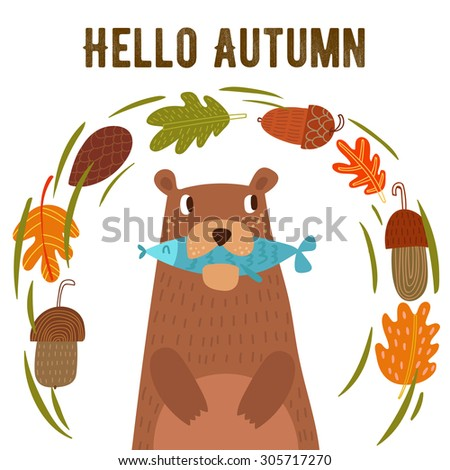 """Vector autumn card with wreath from leaves and acorns. Vintage autumn card with cute bearl and text """"Hello autumn"""". -stock vector - stock vector"""