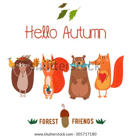 """Vector autumn card with wreath from leaves and acorns. Vintage autumn card with cute  hedgehog,squirrel,bear,fox and text """"Hello autumn"""". -stock vector - stock vector"""