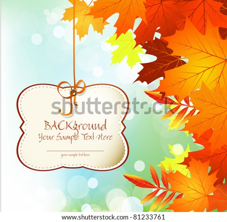vector autumn congratulatory and festive background with leaves and blue sky - stock vector