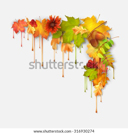 Vector autumn fall leaves with dripping paint, artistic corner design on a white background - stock vector
