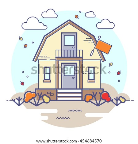 Vector autumn house with flag and falling leaves. Cloudy day. Circle illustration.