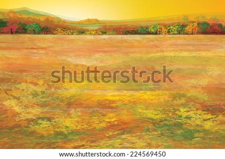 Vector autumn landscape. - stock vector