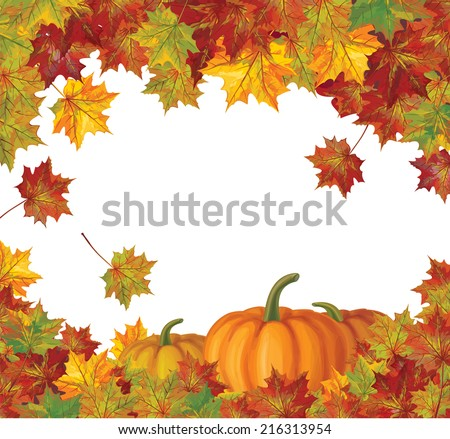 Vector autumn leaves and pumpkins background. - stock vector