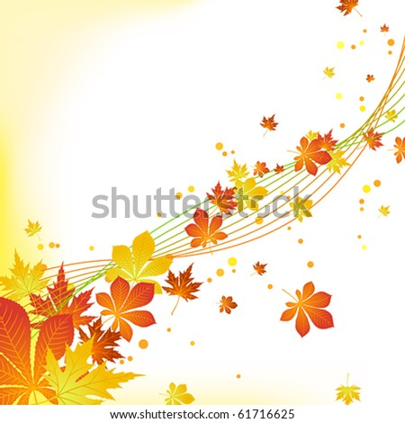 Vector autumn leaves background - stock vector