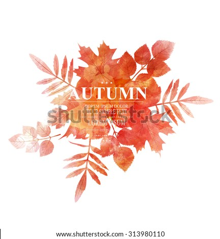 vector autumn, orange, leaves (imitation of watercolors) - stock vector