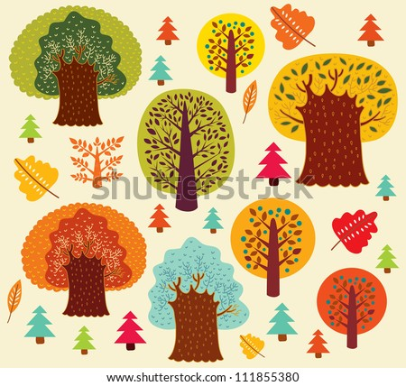 Vector autumn pattern with trees. - stock vector