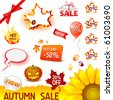 vector autumn sale icons set - stock vector