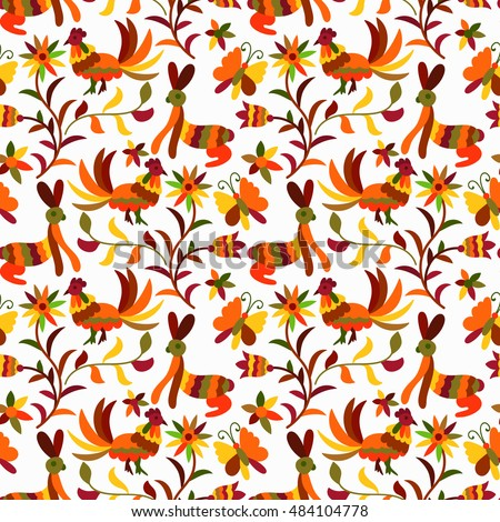 Vector Autumn  Seamless Mexican Otomi Style Bright Pattern