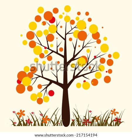 Vector autumn tree  - stock vector