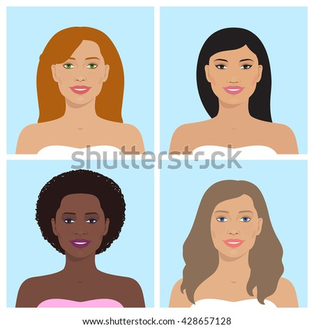 Vector avatar icon set. International portraits. Set of women's avatars. Women of different nation. Women, girls with various hairstyle. Vector flat illustration.