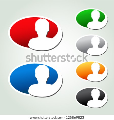 Vector avatar icons, oval stickers - human, user, member