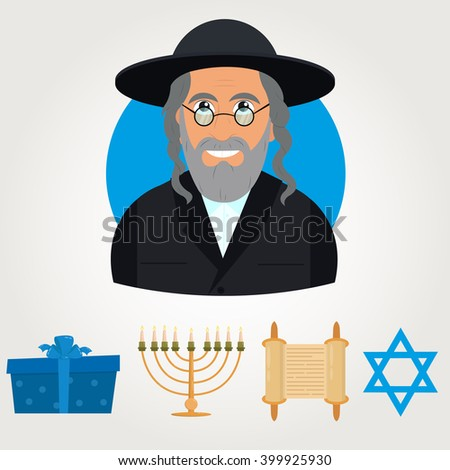 Vector avatar of Jew man with traditional headdress. avatar Jewish man on a blue background. vector illustration. Jew in national costume. Jewish religious symbols. symbols of Judaism. - stock vector