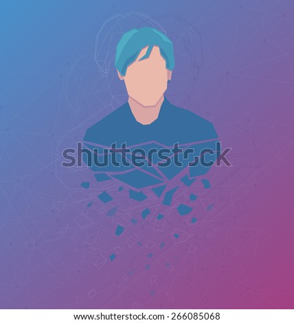 Vector avatar with abstract background - stock vector