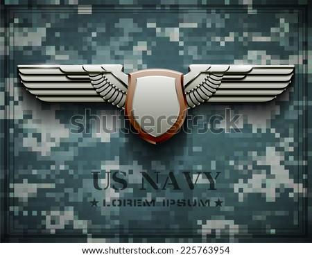 vector award medal us navy army arms wings shield galvanized zinc - stock vector