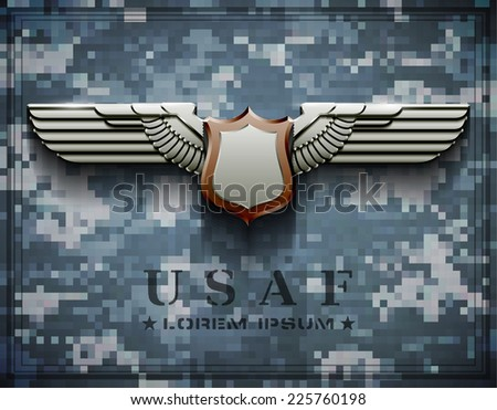 vector award medals usaf wings american army galvanized zinc - stock vector
