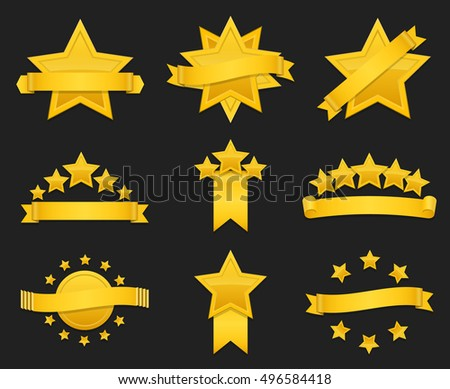 Vector award ribbon with gold star. Set of badge with star and ribbon, illustration golden star for award