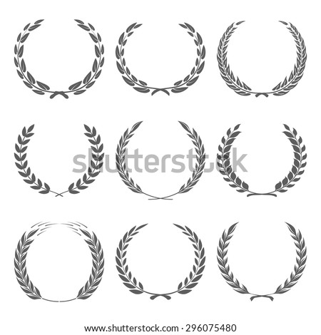 Vector award wreaths, laurel on black background illustration - stock vector