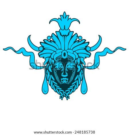 Vector Aztec blue mask - stock vector
