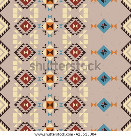 Vector Aztec Seamless Pattern. Geometric Tribal background. Abstract ornament.