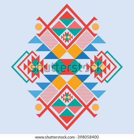 Vector Aztec stile, tribal elements, ethnic, tribal design mix geometric textile with light blue color background - stock vector