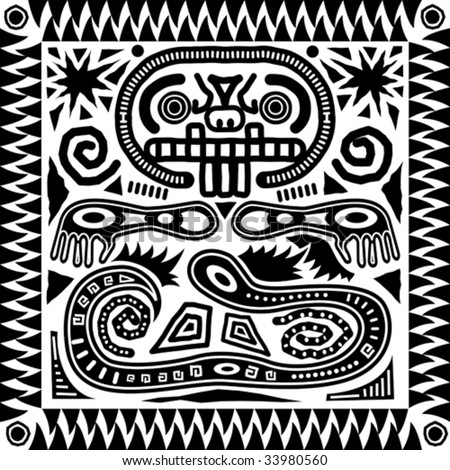 Vector aztec tribal pattern in black and white.