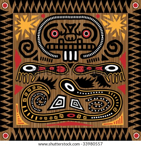 Vector aztec tribal pattern in earth tones.
