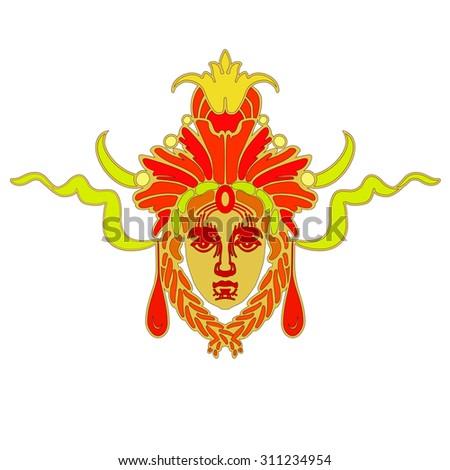 Vector Aztec vivid mask - stock vector