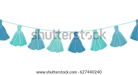 Vector Baby Boy Blue Hanging Decorative Tassels With Ropes Horizontal Seamless Repeat Border Pattern. Great for handmade cards, invitations, wallpaper, packaging, nursery designs.