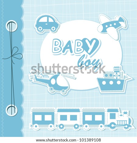 Vector baby boy scrapbook - stock vector