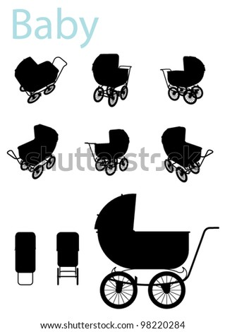 Vector Baby Carriage Silhouette set - stock vector